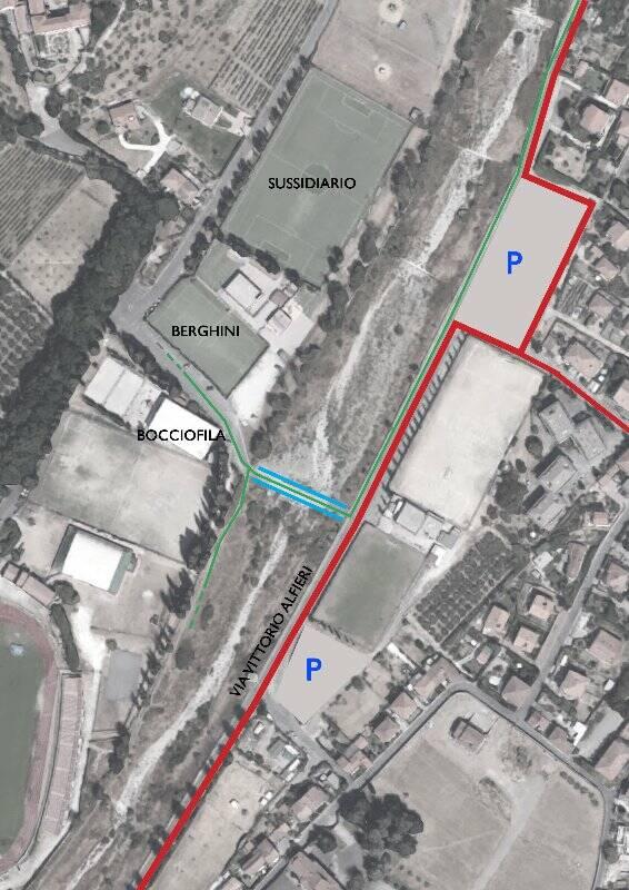 n verde marciapiedi e percorso ciclopedonale, in verde e azzurro la passerella sul Calcandola, in rosso viale Alfieri