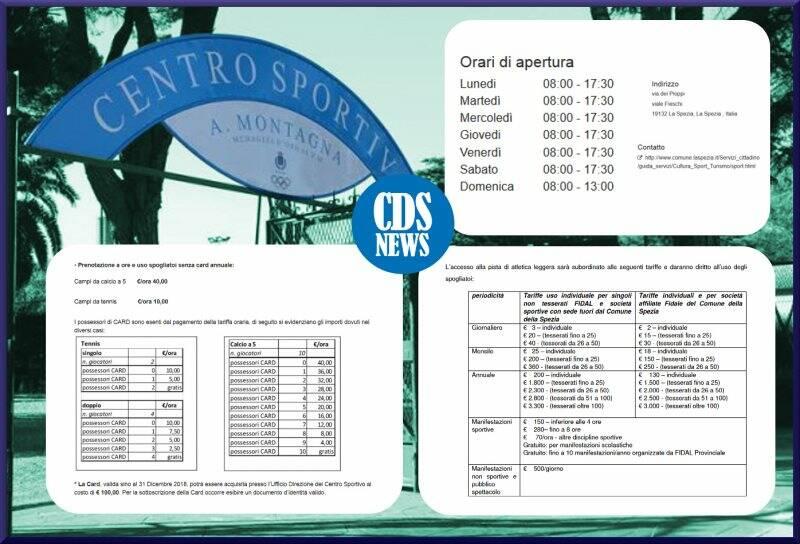 "Infografica - Tariffe campo sportivo ""Montagna"""