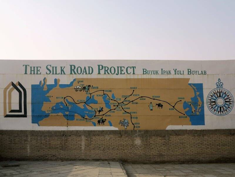 Khiva, murale sulla Via della Seta