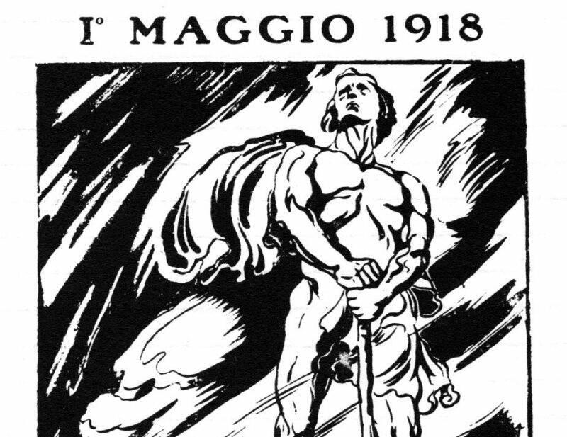 La prima pagina dell'Avanti del primo maggio 1918