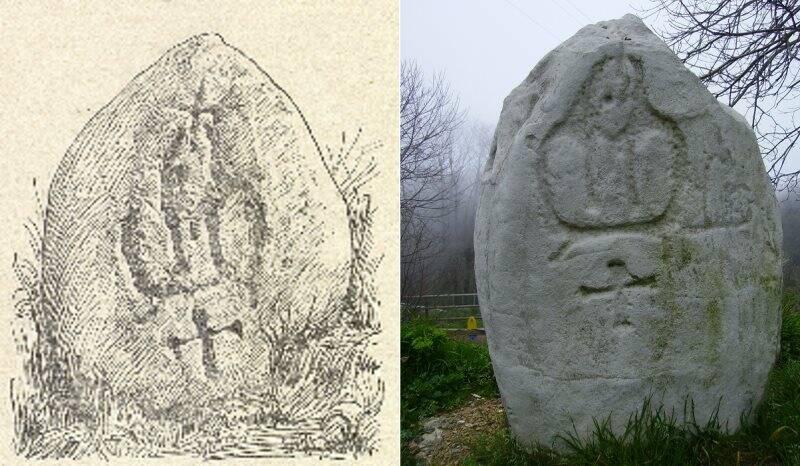 Un disegno del lapis terminalis originale e una fotografia della copia