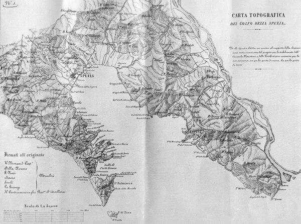 La carta topografica del Golfo della Spezia del 1849