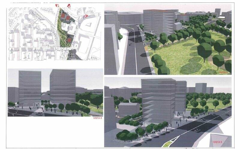 Il rendering della proposta per l'area tra Via Prosperi e Via del Canaletto