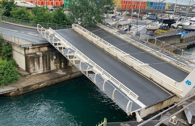 Il ponte della Darsena di Pagliari visto dall'alto