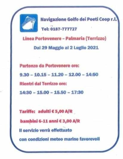 Partenze per Porto Venere e le tariffe