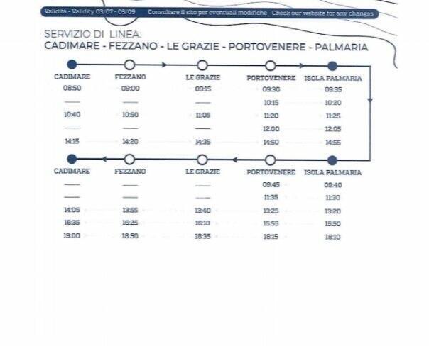 Servizi di linea Cadimare, Fezzano, Le Grazie, Porto Venere