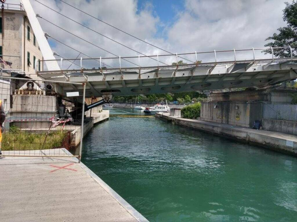 Il ponte di Pagliari dopo il cedimento