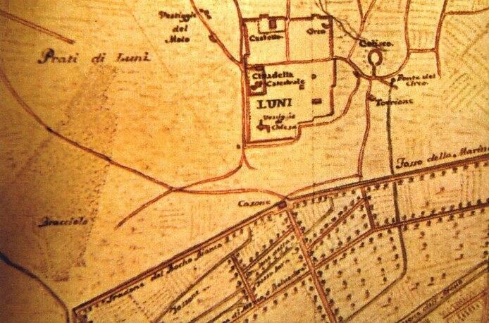 Mappa della zona di Luni nel XVI secolo
