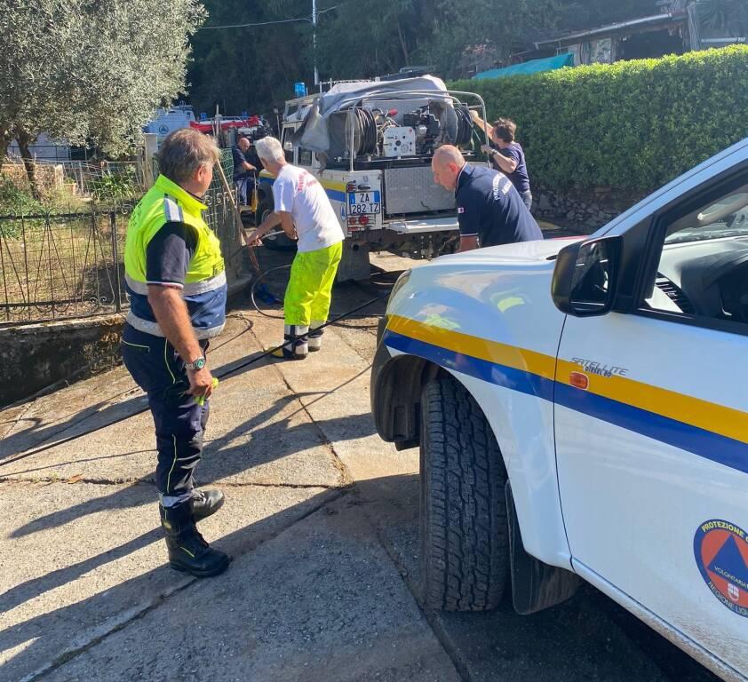 Maltempo ad Ameglia, Protezione civile al lavoro