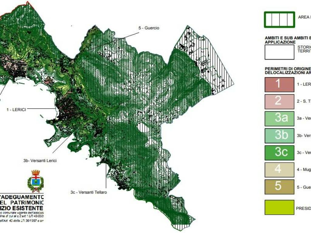 Piano casa, Lerici, perimetri di origine e destinazione (dalla relazione che andrà in consiglio il 30/9/2021)