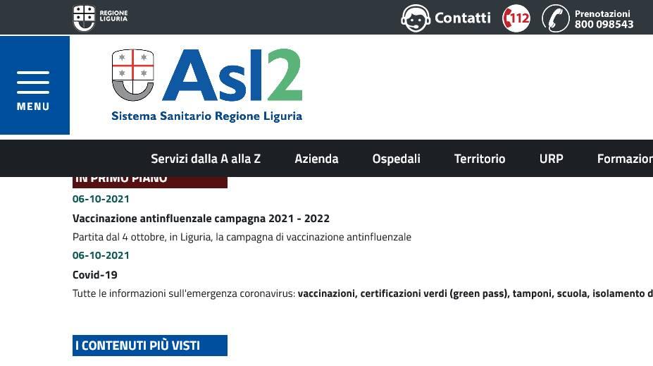 Il sito dell'ASL2