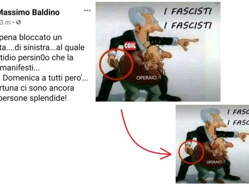 La vignetta contro la Cgil poi modificata da Massimo Caratozzolo Baldino